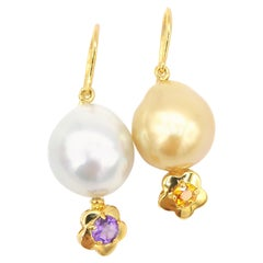 South Sea Silver White Gold Pearl Hook Earrings Amethyst Citrine Flower Motives