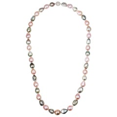 South Sea Tahitian and Freshwater Pink Cultured Pearl Necklace 18k Diamond Clasp