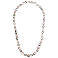 South Sea Tahitian and Freshwater Pink Multi-Color Baroque Rope Necklace