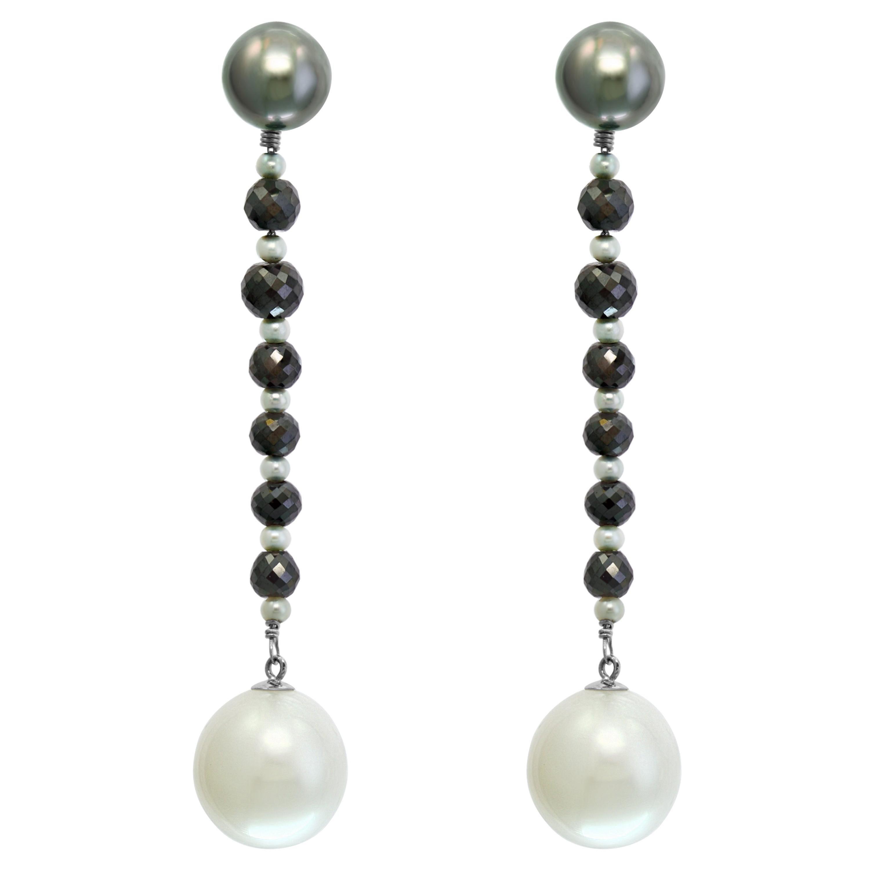 South Sea Tahitian and White Pearl and Black Diamond Dangle Earrings 14KW Gold