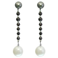 South Sea Tahitian and White Pearl and Black Diamond Dangle Earrings 14KW Gold