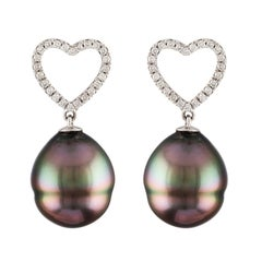South Sea Tahitian Baroque Pearl and Diamond 14K Heart Shaped Dangle Earrings