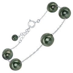 South Sea Tahitian Baroque Pearl and Sterling Silver Adjustable Tin-Cup Bracelet