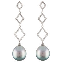 South Sea Tahitian Cultured Drop Pearl and Diamond 14 Karat White Gold Earrings