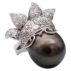 14MM South Sea Tahitian Pearl and Diamond Ring White 18 Karat