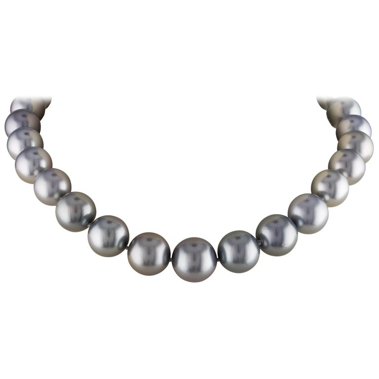 South Sea Tahitian Grey Round Pearl Necklace with 14 Karat White Gold Ball Clasp