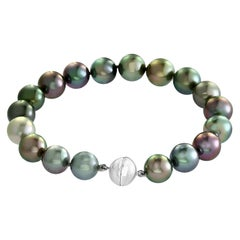 South Sea Tahitian Multicolored Cultured Pearl Bracelet with 18 Karat Clasp