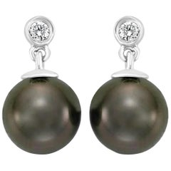 South Sea Tahitian Pearl and Diamond 14 Karat White Gold Earrings