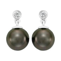 South Sea Tahitian Pearl and Diamond 14 Karat White Gold Earrings