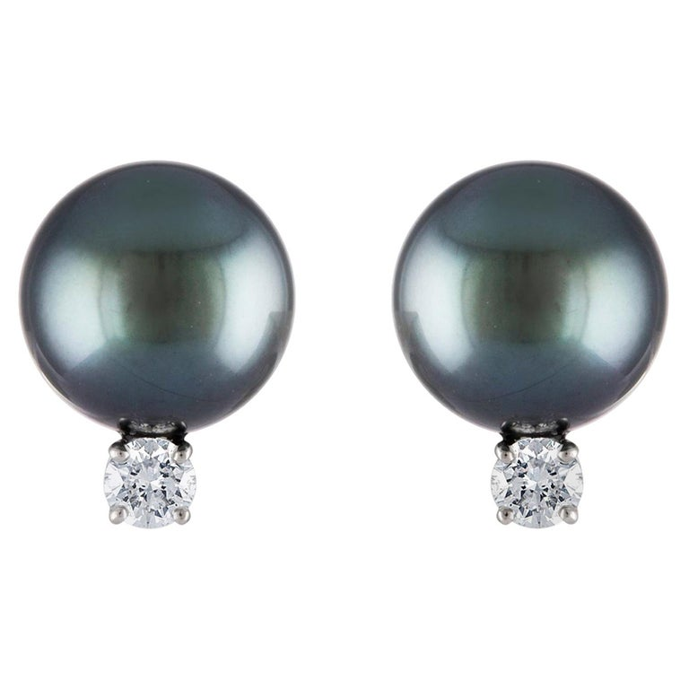 South Sea Tahitian Pearl and Diamond Stud Earrings on 14 Karat White Gold For Sale
