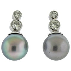 South Sea Tahitian Pearl Diamond Platinum Earrings