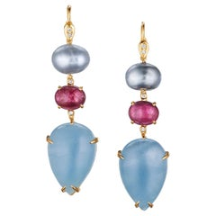 18 Karat Gold South Sea Tahitian Pearl Rubellite Aquamarine Diamond Earrings
