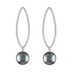 14K White Gold and Diamond Earrings with South Sea Tahitian Round Cultured Pearl