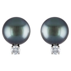 South Sea Tahitian Round Pearl and Diamond 18 Karat White Gold Stud Earrings