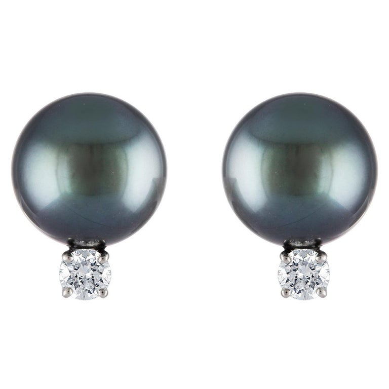 South Sea Tahitian Round Pearl and Diamond 18 Karat White Gold Stud Earrings For Sale