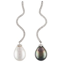 South Sea White and Tahitian Pearl Drop and Diamond 14 Karat White Gold Earrings