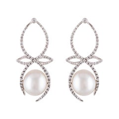 South Sea White Drop Pearl and Diamond Bow Earrings