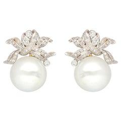 South Sea White Pearl Diamond Earrings, 1950