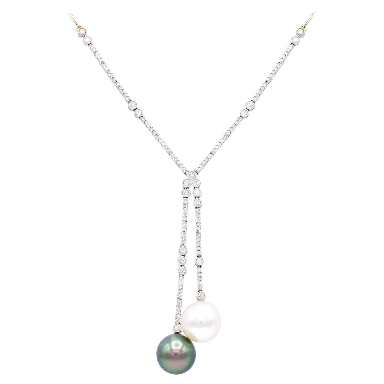 South Sea White Pearl, Tahitian Black Pearl, and Diamond White Gold Necklace