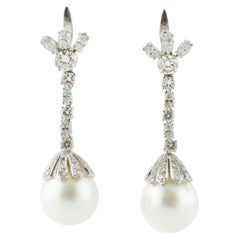 South-Sea White Pearls, Diamonds, Platinum Level-Back/Drop Earrings