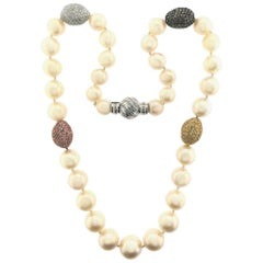 South Sea White Pearls with 18 Karat White Gold Beans and Sapphires Necklace