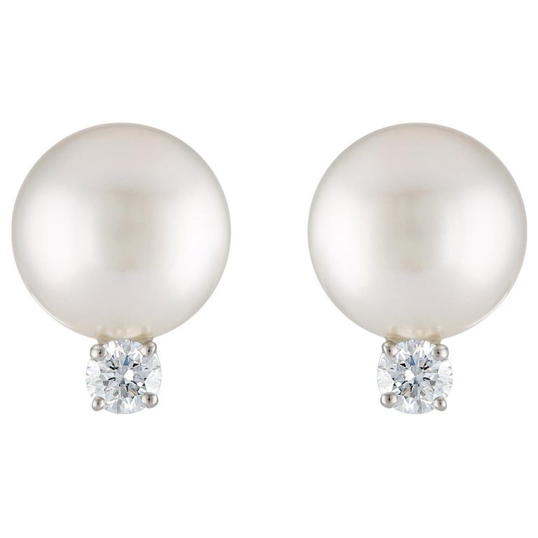 South Sea White Round Pearl and Diamond 18 Karat White Gold Stud Earrings For Sale