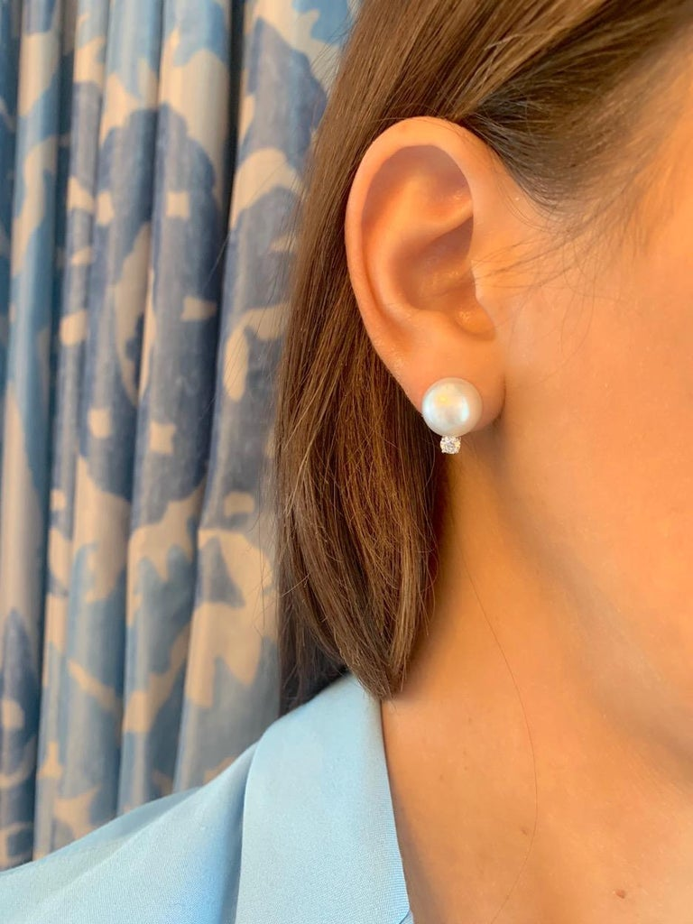Contemporary South Sea White Round Pearl and Diamond 18 Karat White Gold Stud Earrings For Sale