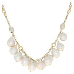 South Seas Baroque Pearl and Diamond Necklace, 14 Karat Gold Round Cut .66 Carat