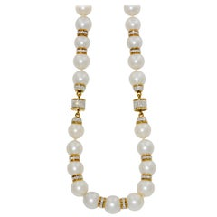 South Seas Pearls 6.00 Carat Diamond Rondelles Necklace