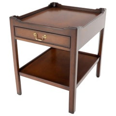 Southampton Mahogany Gallery Top Brass Drop Pull One-Drawer End Table Stand