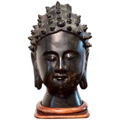 Southeast Asian Bronze Head Sculpture of a Buddha