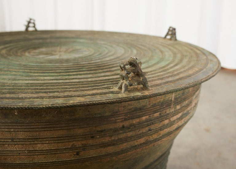 Southeast Asian Bronze Rain Drum or Frog Drum Table For Sale 11