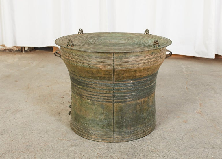 Tribal Southeast Asian Bronze Rain Drum or Frog Drum Table For Sale