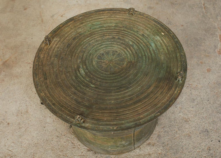 Cast Southeast Asian Bronze Rain Drum or Frog Drum Table For Sale