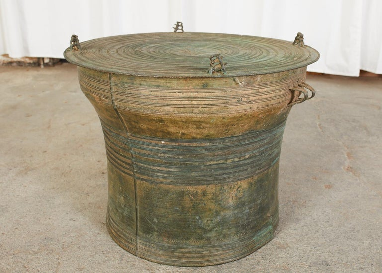 20th Century Southeast Asian Bronze Rain Drum or Frog Drum Table For Sale