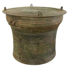 Southeast Asian Bronze Rain Drum or Frog Drum Table