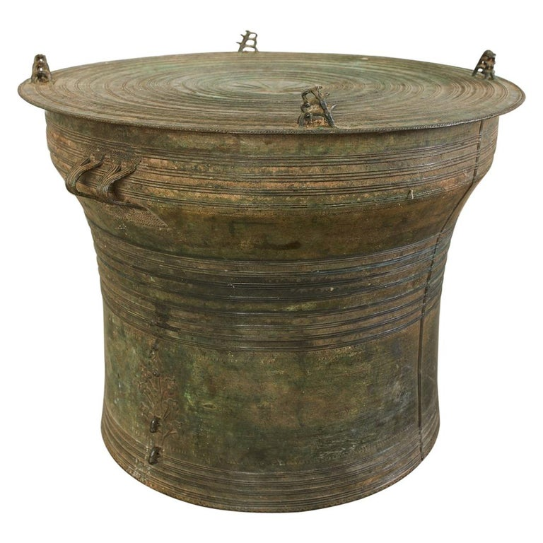 Southeast Asian Bronze Rain Drum or Frog Drum Table For Sale