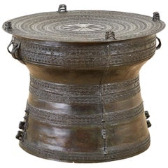 Southeast Asian Bronze Rain Drum Table or Frog Drum