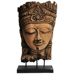 Southeast Asian Carving of a Goddess on Stand
