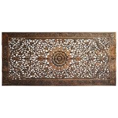 Southeast Asian Rectangular Carved Flower Panel