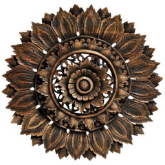 Southeast Asian Round Hand-Carved Lotus Flower Panel