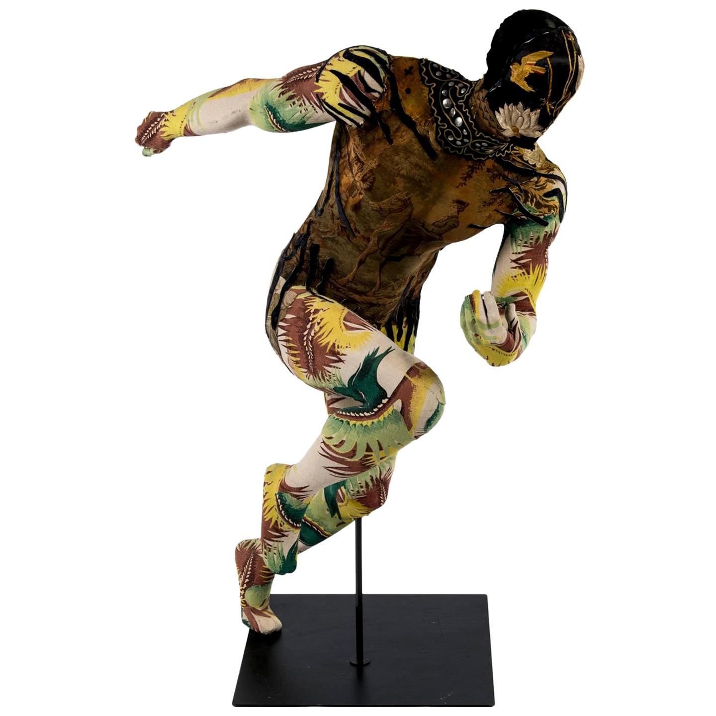Southern Beasts Running Man Art Tapestry Mannequin by Mary Lou Marks