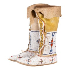 Southern Native Cheyenne Beaded High Top Moccasins