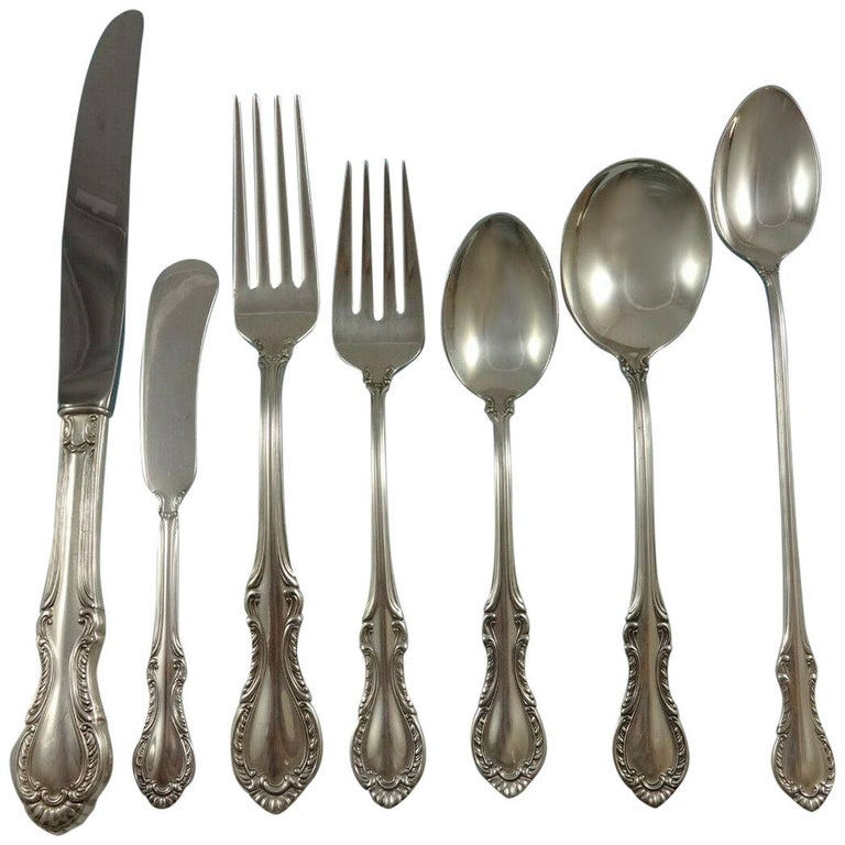 Southern Colonial by International Sterling Silver Flatware Service 12 Set 94 Pc For Sale