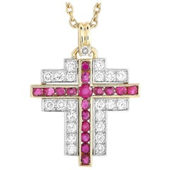 Southern Cross 18K Yellow Gold 1.37 ct Diamond and Ruby Cross Pendant Necklace