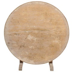 Southern French Round Wine Tasting Table with Tapestry Remnants, circa 1920