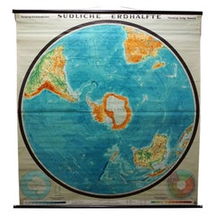 Southern Hemisphere of the Earth Rollable Map Vintage Wall Chart