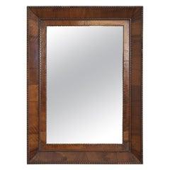 Southern Italian Walnut and Walnut Veneer Bevel-Molded Mirror, 19th Century