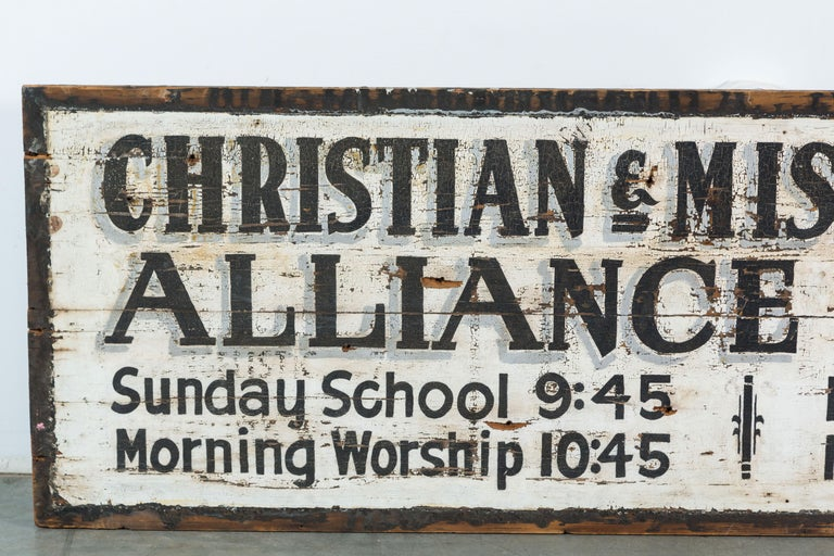 Missionary church sign found in the southern United States, circa 1930s original black and white surface with fantastic hand lettering. Great aged surface.
