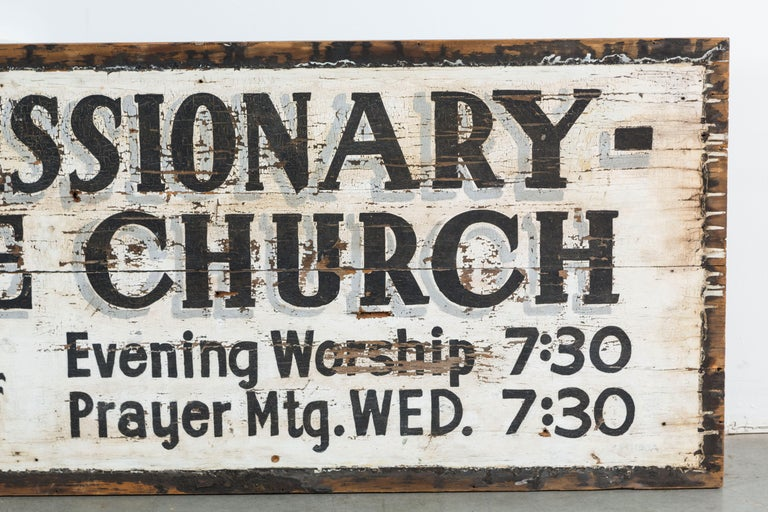Folk Art Southern Missionary Church Sign circa 1930s Original Black and White Surface For Sale
